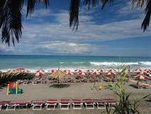 Fiumefreddo in summer season. The beach of fiumefreddo del bruzio in south italy stock photography