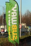 Beach flag of Subway fast food at a Esso petrol station in NIeuwerkerk aan den ijssel in the Netherlands.e. Beach flag of Subway fast food at a Esso petrol royalty free stock images