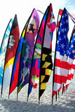 Beach Flags. Row of colorful flags on sandy beach in the sunshine Stock Photography