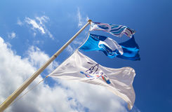 Beach flags in the blue sky Royalty Free Stock Images