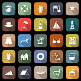 Beach flat icons with long shadow Stock Photo