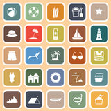 Beach flat icons on orange background Royalty Free Stock Image