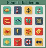 Beach flat icons. Vector set. Set of beach and seaside flat icons with long shadows. Vector illustration Royalty Free Stock Image