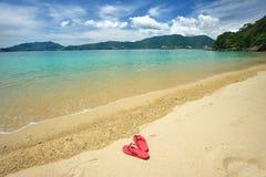 Beach flip-flops Stock Images