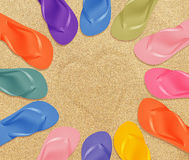 Beach flip flops royalty free stock photography