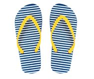Beach flip flops isolated,yellow and blue stripes color. Yellow blue stripped beach flip flops isolated,women`s sandals pair stock photos