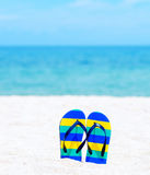 Flip flops on a tropical beach Stock Image