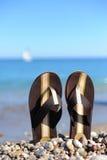 Beach flip flops. On tropical sand stock photo