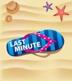 Beach flip on sand with text last minute. Beach flip with text last minute stock illustration