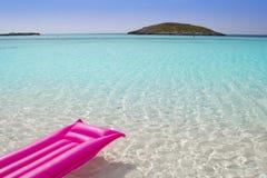 Beach floating lounge pink tropical sea Formentera. Balearic island Stock Images