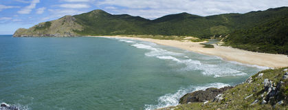 Beach in Florianopolis. Lagoinha do Leste Beach in Florianopolis - Panoramic Royalty Free Stock Photography