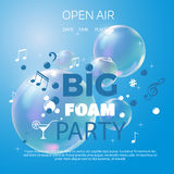 Beach foam party poster or flyer design template. Foam Party summer Open Air. Beach foam party poster or flyer design template vector illustration