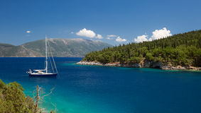 Beach of Foki Fiskardo, Kefalonia, Ionian islands, Greece Royalty Free Stock Photos
