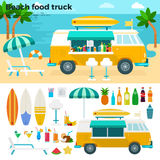 Beach food truck with cold beverages Stock Photos