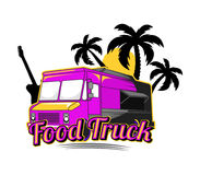 Beach Food Truck Logo. Night Beach food truck logo for food delivery Stock Photos