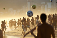 Beach Football Crowd on the Beach in Rio Royalty Free Stock Photo