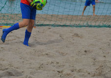 Beach football goalkeeper Royalty Free Stock Image