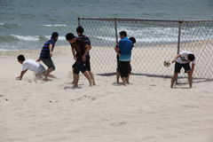 A beach football match Royalty Free Stock Photo