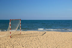 Beach football pitch on a sunny day, popular sport on the beach Stock Photography