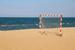 Beach football pitch on a sunny day, popular sport on the beach Royalty Free Stock Photo