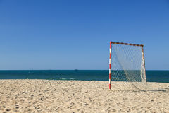 Beach football pitch on a sunny day, popular sport on the beach.  Royalty Free Stock Photos