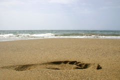 Beach Footprint. Footprint on the beach from a low angle Stock Photography