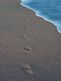 Beach with footprint 2 Stock Photography