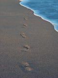Beach with footprint 2. Footprint on the sea beach Stock Photography