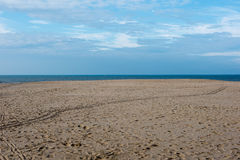 Beach with footprints at the North Sea in Koksijde, Belgium.  Stock Photography