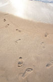 Beach. Footprints on the beach in thailand Stock Photo