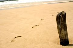 Beach Footsteps. Surf and footsteps Royalty Free Stock Photos