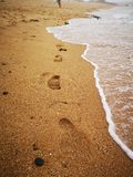 Beach footsteps waves royalty free stock photo