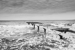 Beach in formentera black and white. Bridge Royalty Free Stock Photos