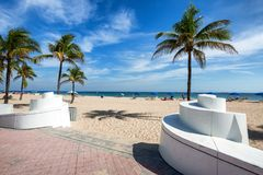 The beach at Fort Lauderdale in Florida on a beautiful sumer day. Entrance to a Fort Lauderdale Beach, Florida Royalty Free Stock Photos