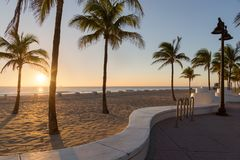 The beach at Fort Lauderdale in Florida on a beautiful sumer day. Sunrise at Fort Lauderdale Beach, Florida Royalty Free Stock Image