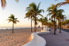 The beach at Fort Lauderdale in Florida on a beautiful sumer day Royalty Free Stock Photos