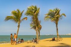 Beach of Fortaleza Brazil. FORTALEZA, BRAZIL, DECEMBER - 2015 - Landscape view of one of the beaches of Fortaleza, Brazil stock photo