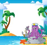 Beach frame with octopus sailor Stock Image
