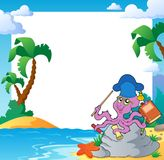 Beach frame with octopus teacher Stock Photography