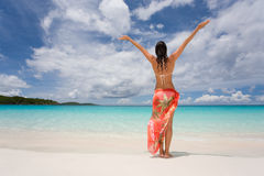 Beach freedom woman arms raised Royalty Free Stock Photography