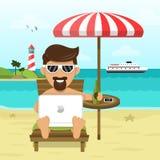 On the beach freelance Work & Rest flat Stock Photos