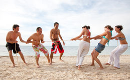 Beach friends pulling a rope Royalty Free Stock Images