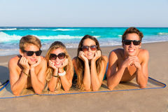Beach friends together tourits portrait on the sand Stock Image