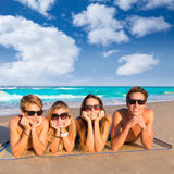 Beach friends together tourits portrait on the sand Stock Photography