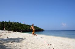 Beach frisbee. White sand beaches of boracay island in the philippines Royalty Free Stock Images