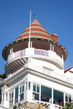 Beach Front Balcony. Closeup of home that sits on Catalina Island stock photo