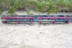 Beach front benches Royalty Free Stock Photos