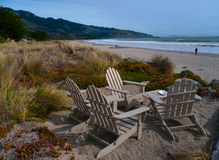 Beach front chairs. Wooden beach chairs located to provide maximum view of the beach. Stinson Beach California Stock Photography