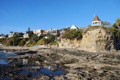Beach front homes at Shaws Cove, Laguna Beach, California. Royalty Free Stock Images