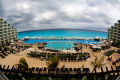 The beach front at a luxury beach resort in Cancun. Mexico, a fisheye view Royalty Free Stock Image